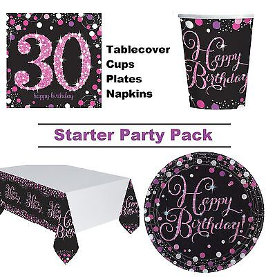Pink Sparkling 30th Birthday 8-48 Guest Party Pack Cup Plate Napkin Tablecover