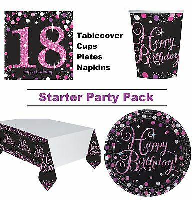 Pink Sparkling 18th Birthday 8-48 Guest Party Pack Cup Plate Napkin Tablecover