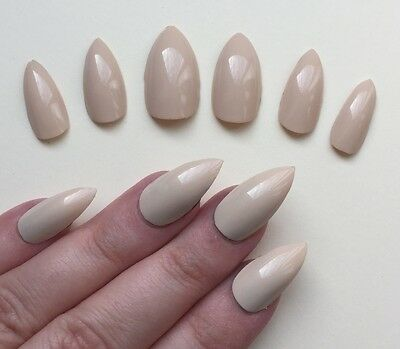 Hand Painted False Nails STILETTO Full Cover. Gel Gloss butterscotch nude. UK