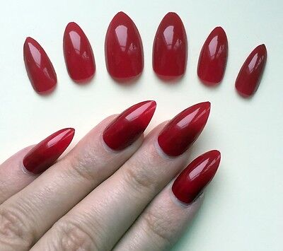 Hand Painted False Nails STILETTO Full Cover. Deep rich dark gloss RED. UK