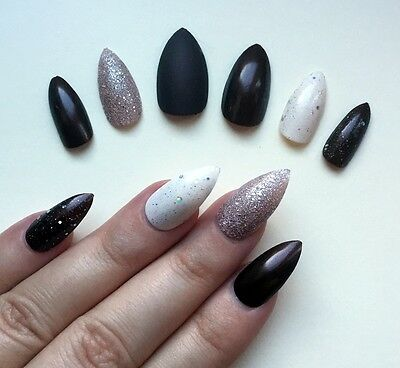 Hand Painted False Nails STILETTO Full Cover. Rich chocolate brown & cream. NEW