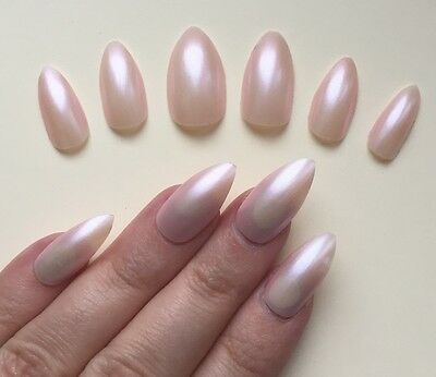 Hand Painted False Nails STILETTO Full Cover. Light pink pearl shimmer. NEW. UK