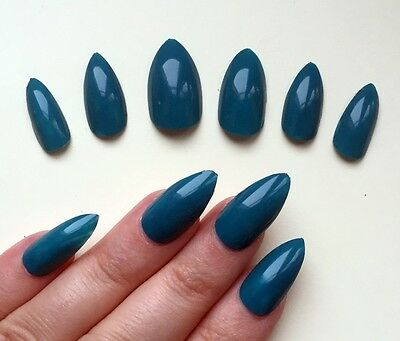 Hand Painted False Nails STILETTO Full Cover. Teal Green Blue. NEW COLOUR. UK