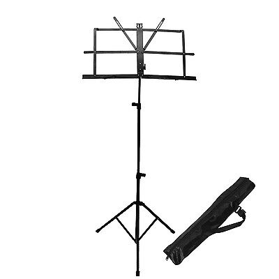 ChromaCast Black Metal Folding Music Stand Adjustable Tripod Sheet Mount w Bag