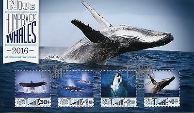 Niue 2016 FDC Humpback Whales 4v Set Cover Marine Mammals Animals Whale Stamps
