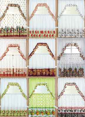 "3Pc Kitchen Window Curtain Treatment Tiers And Swag Set 36"" Long Country Styles"