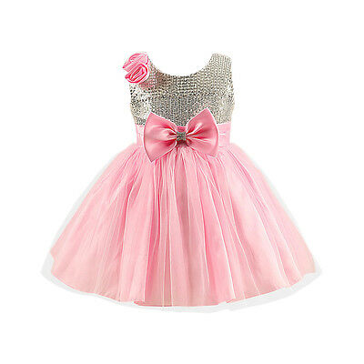 Fairy Princess Uk, Pink Silver Party Bridesmaid Flower Girls Dress Age 2/7 Years