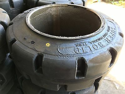 Lot of 2 Super Solid 13-1/2x5-1/2x8 Solid Forklift Press-On Tire Traction Tires