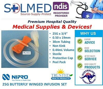 "5 X NIPRO BUTTERFLY WINGED INFUSION SET/ SCALP VEIN SET 25G x 3/4"" 30cm TUBING"