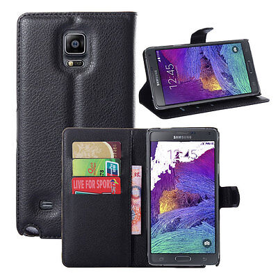 Magnetic PU Leather Flip Wallet Stand Case Cover For Samsung Galaxy Note 4 N9100