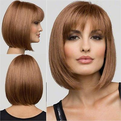 Medium Natural Straight Bob Human Hair Full Lace Wigs / Lace front Wig New