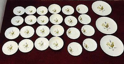 27 PC Edwin Knowles Weather Vane Rooster Vintage Coupe Dinnerware  EUC