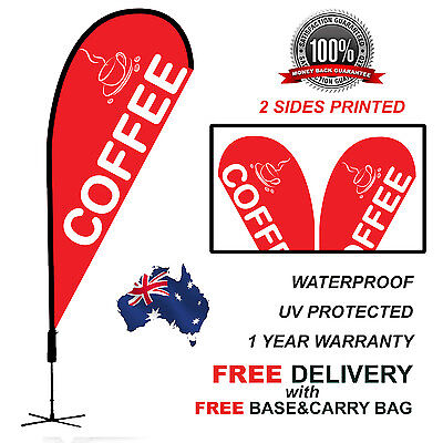 2.25m RED COFFEE Teardrop Flag Banner Kit Outdoor CLRED310