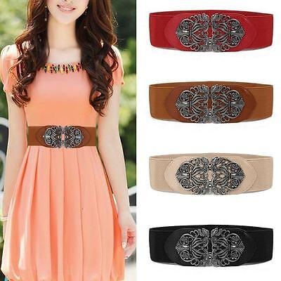 New Vintage Metal Flower Elastic Stretch Buckle Waistband Women Wide Waist Belt