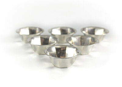 Group of 6 Whiting Sterling Silver Open Salt Cellar Dips, c1950. Octagonal Lobed