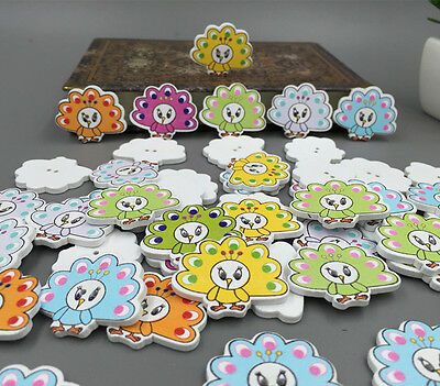 DIY Mixed Color mascot Peacock Painting Wood Buttons Sewing scrapbook 33mm