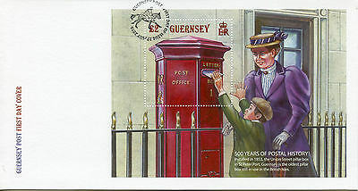Guernsey 2016 FDC Postal History 500 Years 1v M/S Cover Royal Mail Pillar Box