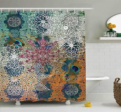 Shower Curtain Medallion Colorful Mandala Patterns Artsy 70 Inches Long