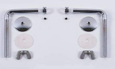 Bright Chrome Bar L-Shaped Rod Toilet Seat Hinge Set With Fixing Kit