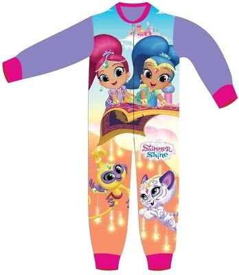 Girls Shimmer And Shine All In One Sleepsuit Sleepwalker Pyjamas 18-24 To 7 Yrs