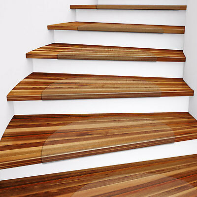 Clear Polycarbonate Stair Treads for Hard Floors, 15 Piece Set- 2 sizes