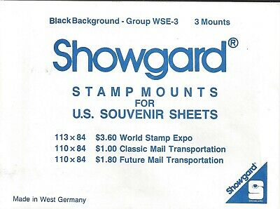 Package of 3 Prinz WSE-SS BLACK Mounts for WSE and UPU Souvenir Sheets