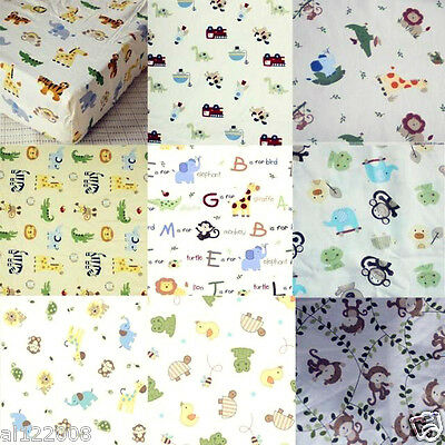 New Standard Baby Cot Fitted Sheet 100% Cotton Designs for Boys Girls