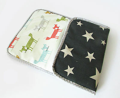 Handmade baby travel changing liner / mat  for bag -fox oilcloth & stars on grey