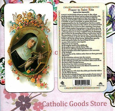 Prayer to St Rita - Saint of the Impossible - Plastic Holy Card