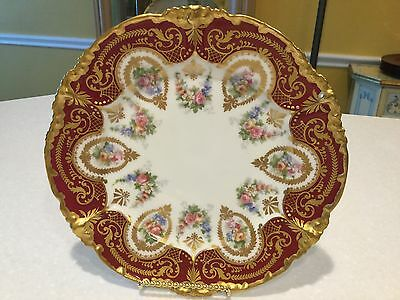 "J. Pouyat Limoges France handpainted pink yellow blue roses & gold 8&3/4"" plate"