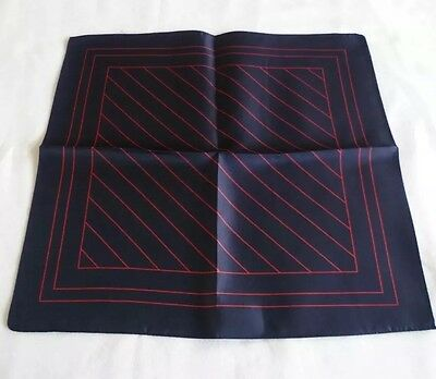 BNWOT M&S 100% Silk Pocket Square/Hankerchief in Navy Blue & Red Striped Design