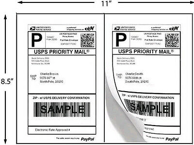 "8.5"" X 5.5"",  Shipping Labels 1/2 Sheet White 2400 pk"