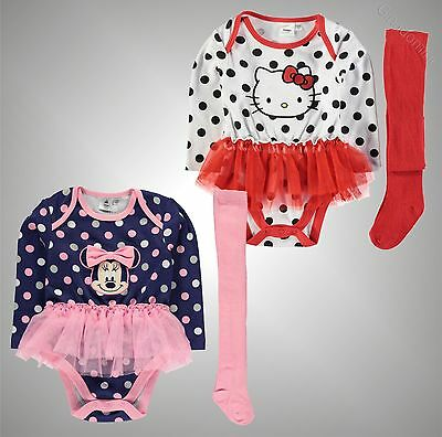 Baby Girls Branded Character Legless Body Suit Tights Tutu Set Size 0-24 Months