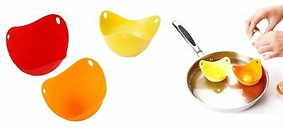 2 Silicone Egg Poacher Mould Poaching Poach Cup Pods Breakfast Kitchen Cook Tool