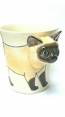 3D Siamese Cat Mug Hand painted so cute Coffee Tea Animal cup Stoneware Ceramic