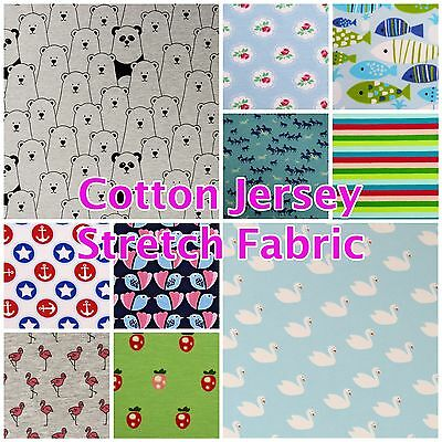 Baby nursery brushed cotton children 39 s print stretch for Children s jersey fabric uk