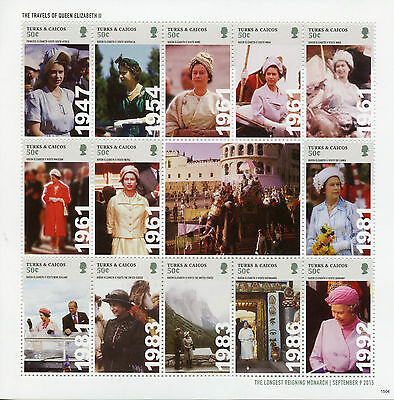 Turks & Caicos 2015 MNH Queen Elizabeth II Longest Reign 14v M/S Royalty Stamps