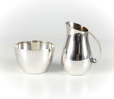 2pc Set Lunt Sterling Silver Creamer and Sugar Bowl #1190. c1950