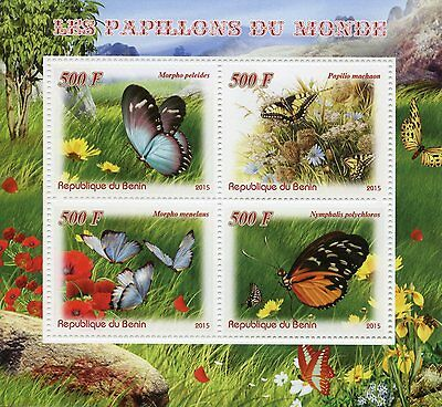 Benin 2015 MNH Butterflies of the World 4v M/S Insects Morpho Butterfly Stamps