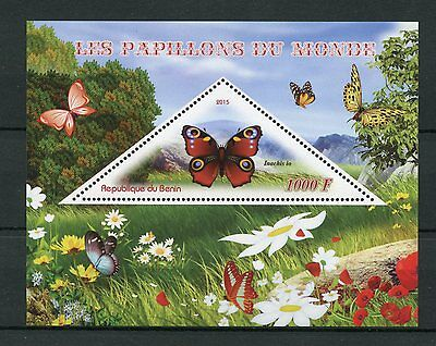 Benin 2015 MNH Butterflies of the World 1v S/S Peacock Butterfly Insects Stamps