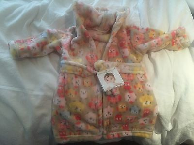 NWT Blankets and Beyond Super Soft Owl Hooded Robe  9+ Months