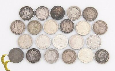 1874-1920 Canada 5 Cents Lot G-AU 22 coin Sterling Silver Five 5c KM-2 13 22 22a