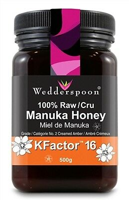 NEW Wedderspoon Raw Manuka Honey Active 16+ 17.6 Ounce Jar two pack