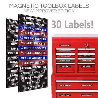 Adjustable Magnetic TOOLBOX LABELS for all tool chests Blue Series Professional