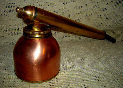 Vintage Brass & Copper Mid-Century Garden Pump Sprayer w/ Wood Handle