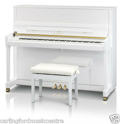 PIANO KAWAI K300 White UPRIGHT NEW adjustable BENCH @ CarlingfordMUSICcentre