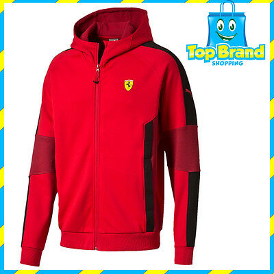 Puma Mens Ferrari Hooded Sweat Jacket Racing F1 Rosso Corsa Red