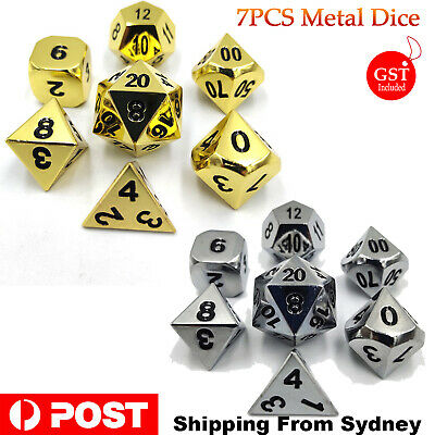 7Pcs Polyhedral Metal Dice Set Playing Game Poker Card Dungeons & Dragons Party