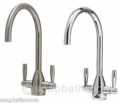Monobloc Kitchen Tap Round Sink Mixer Twin Lever Handle Chrome or Brushed Steel