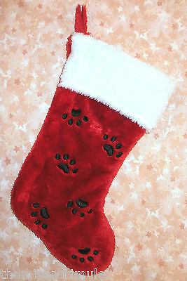 NEW~Cute Red Plush Dog Cat Pet Christmas Stocking Embroidery Black Paw Prints